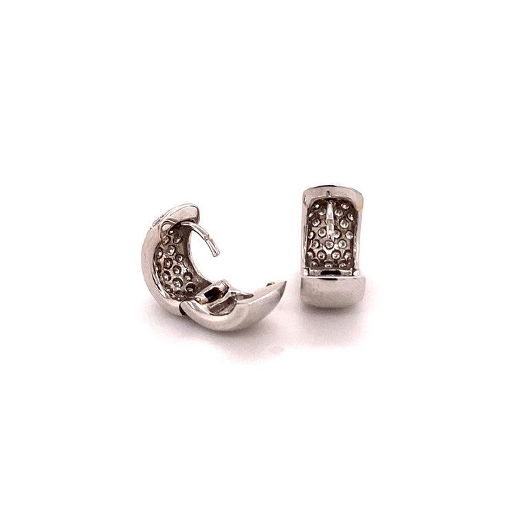 Modern Pavé Diamond Clip-On Earrings in 18 Karat White Gold For Sale