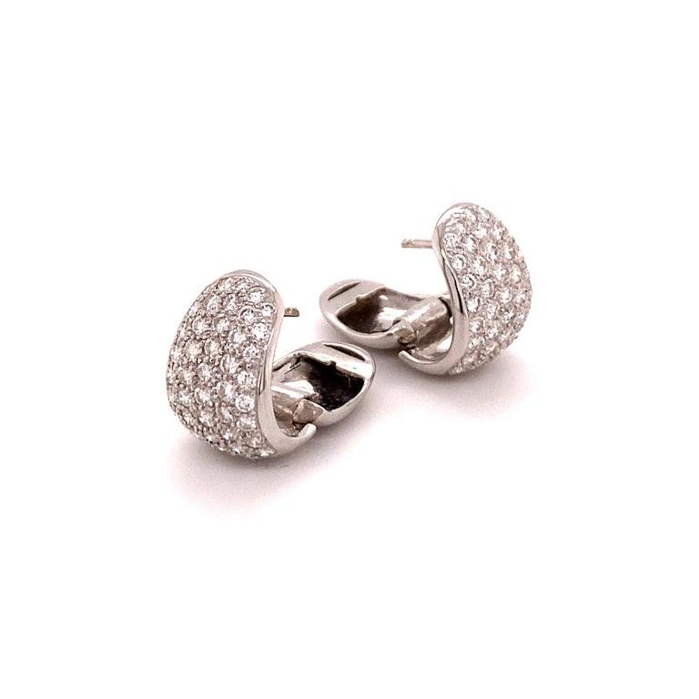 Contemporary Pavé Diamond Clip-On Earrings in 18 Karat White Gold For Sale