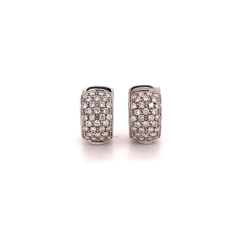 Brilliant Cut Pavé Diamond Clip-On Earrings in 18 Karat White Gold For Sale