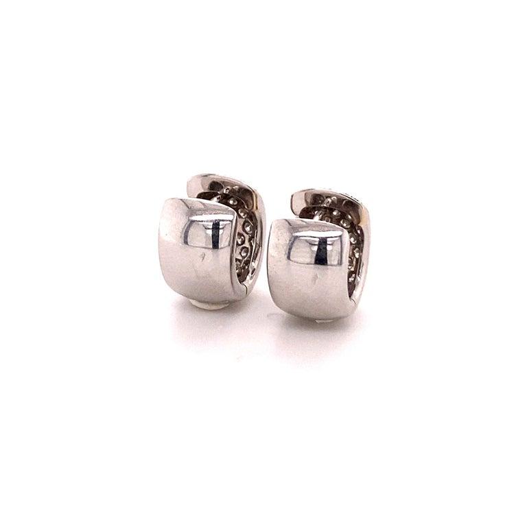 Pavé Diamond Clip-On Earrings in 18 Karat White Gold For Sale 1