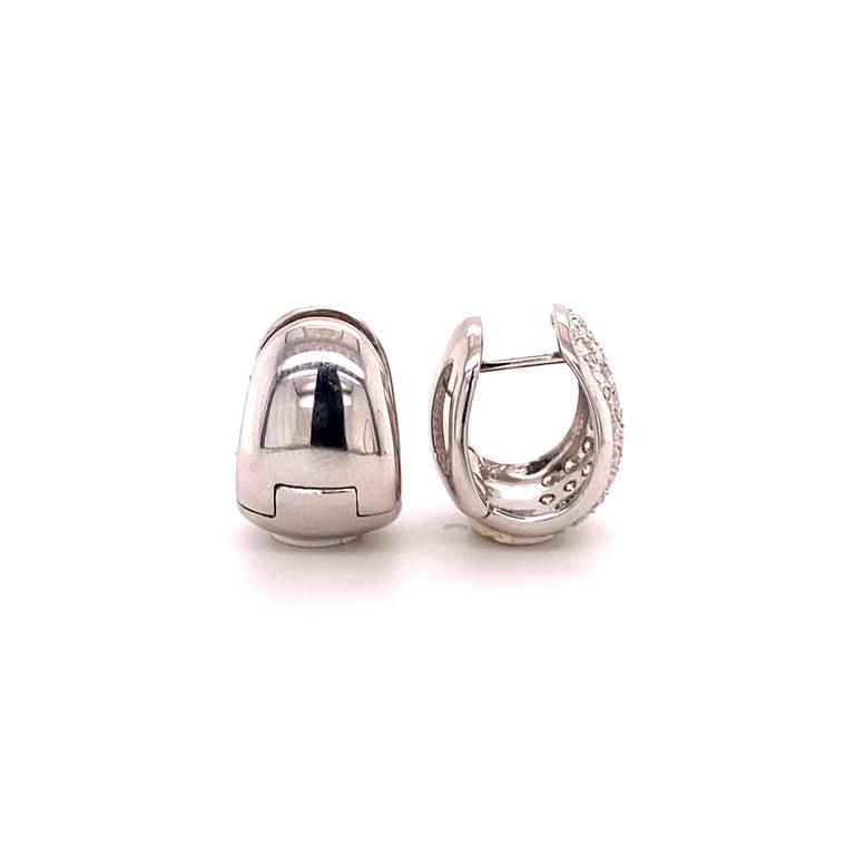 Pavé Diamond Clip-On Earrings in 18 Karat White Gold For Sale 2