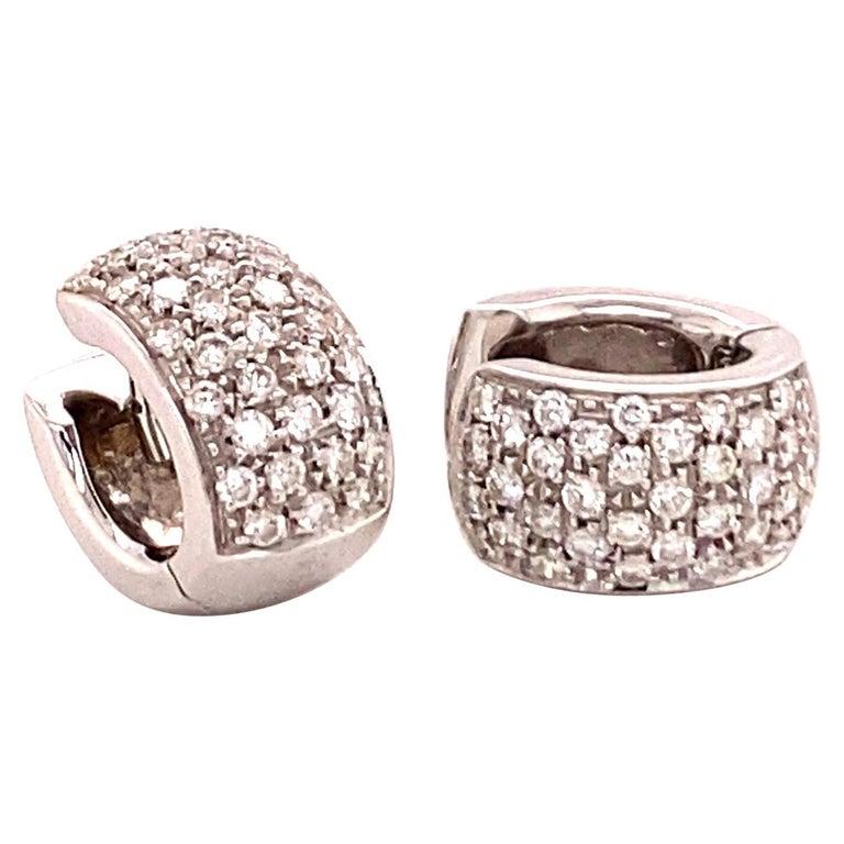 Pavé Diamond Clip-On Earrings in 18 Karat White Gold For Sale