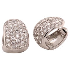 Pavé Diamond Clip-On Earrings in 18 Karat White Gold