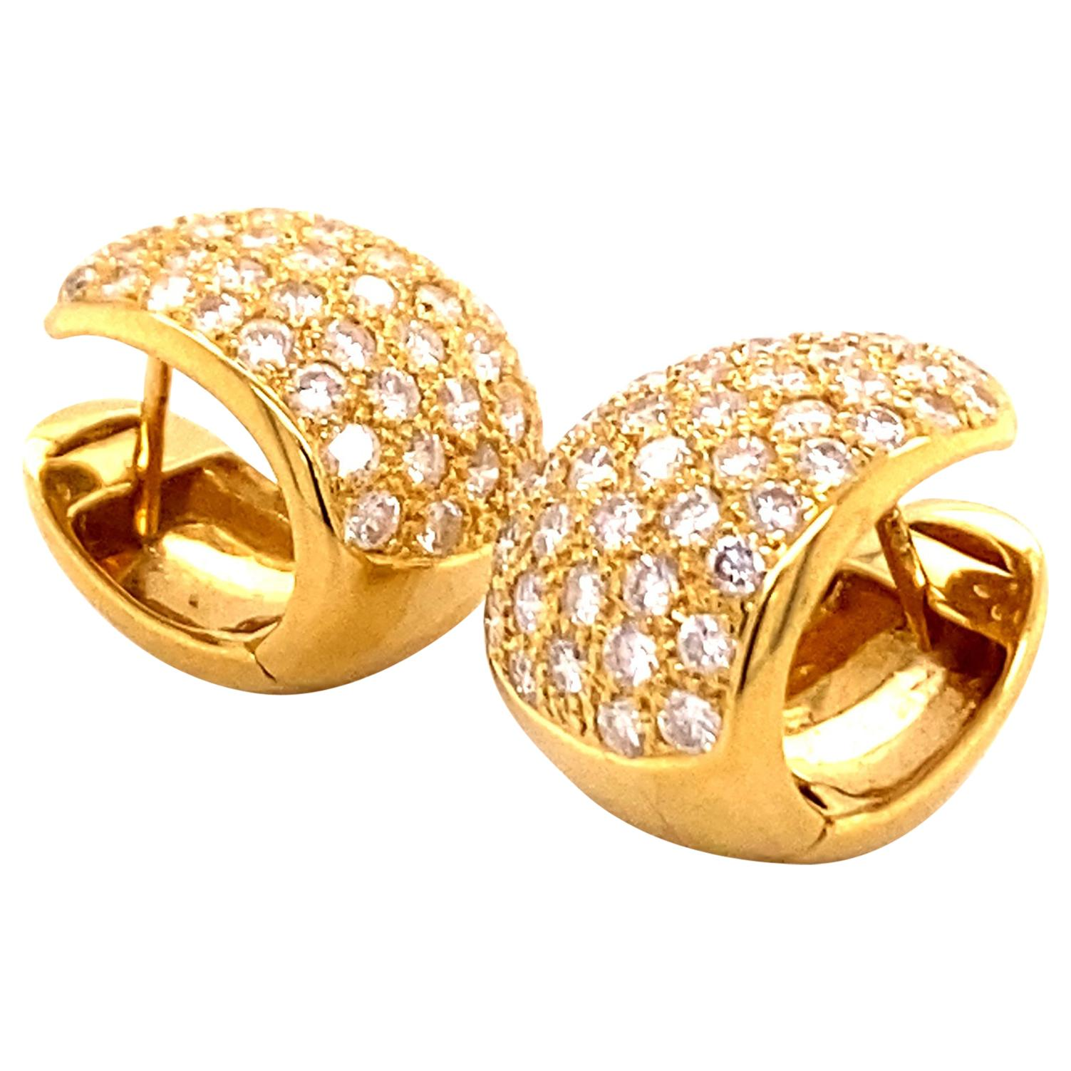Pavé Diamond Clip-On Earrings in 18 Karat Yellow Gold