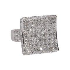 Pave Diamond Concave Saddle Ring 1.80 Carat 18 Karat White Gold