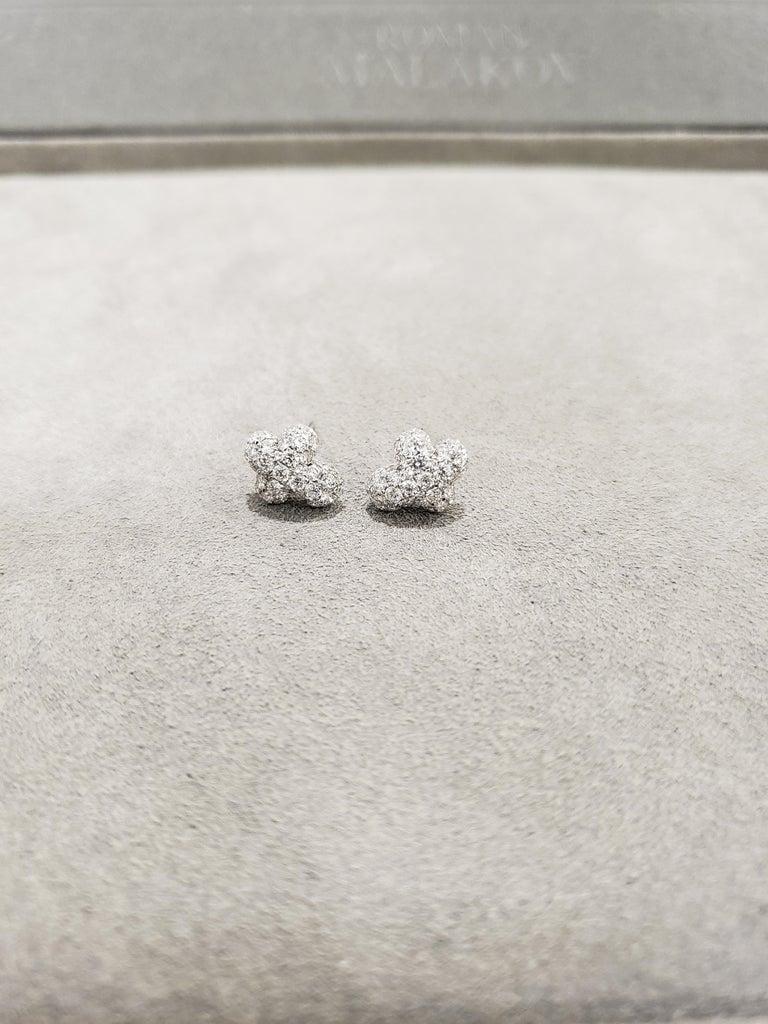 Round Cut Pave Diamond Cross Stud Earrings For Sale