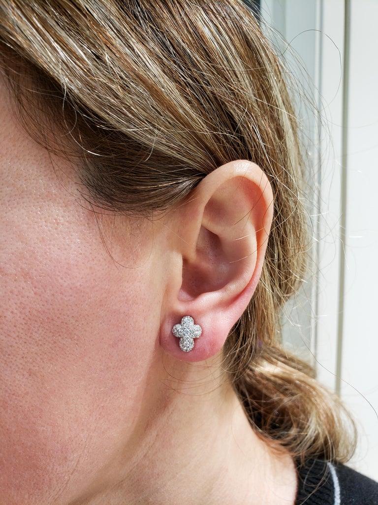 Pave Diamond Cross Stud Earrings For Sale 1