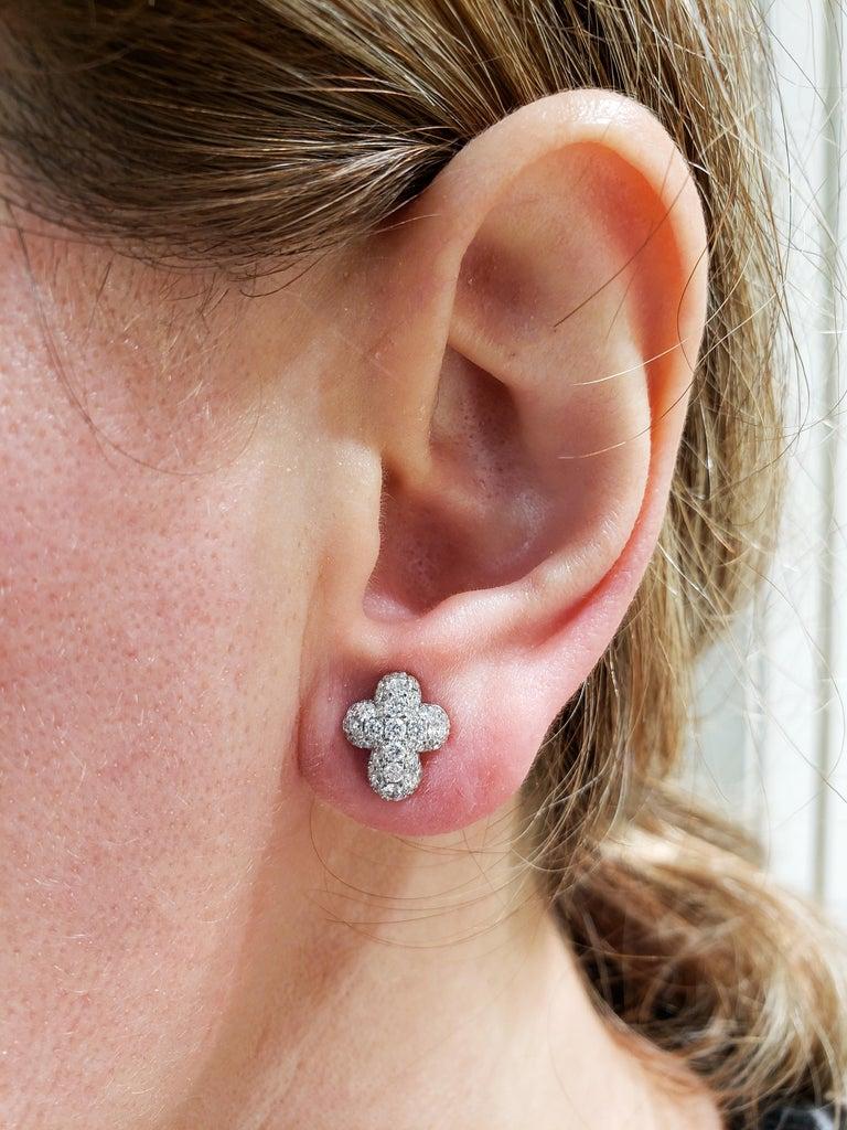 Pave Diamond Cross Stud Earrings For Sale 2
