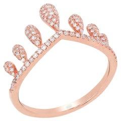 Pave Diamond Crown Ring in 14 Karat Rose Gold