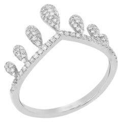 Pave Diamond Crown Ring in 14 Karat White Gold