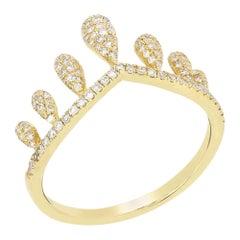 Pave Diamond Crown Ring in 14 Karat Yellow Gold