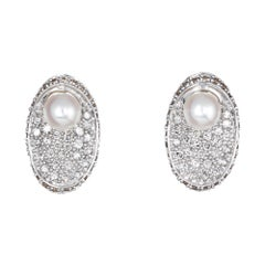 Pave Diamond Cultured Pearl Earrings Oval Stud Estate 14 Karat Gold Concave