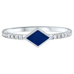 Pave Diamond Dark Blue Enamel Rhombus Ring in 14K White Gold, Shlomit Rogel