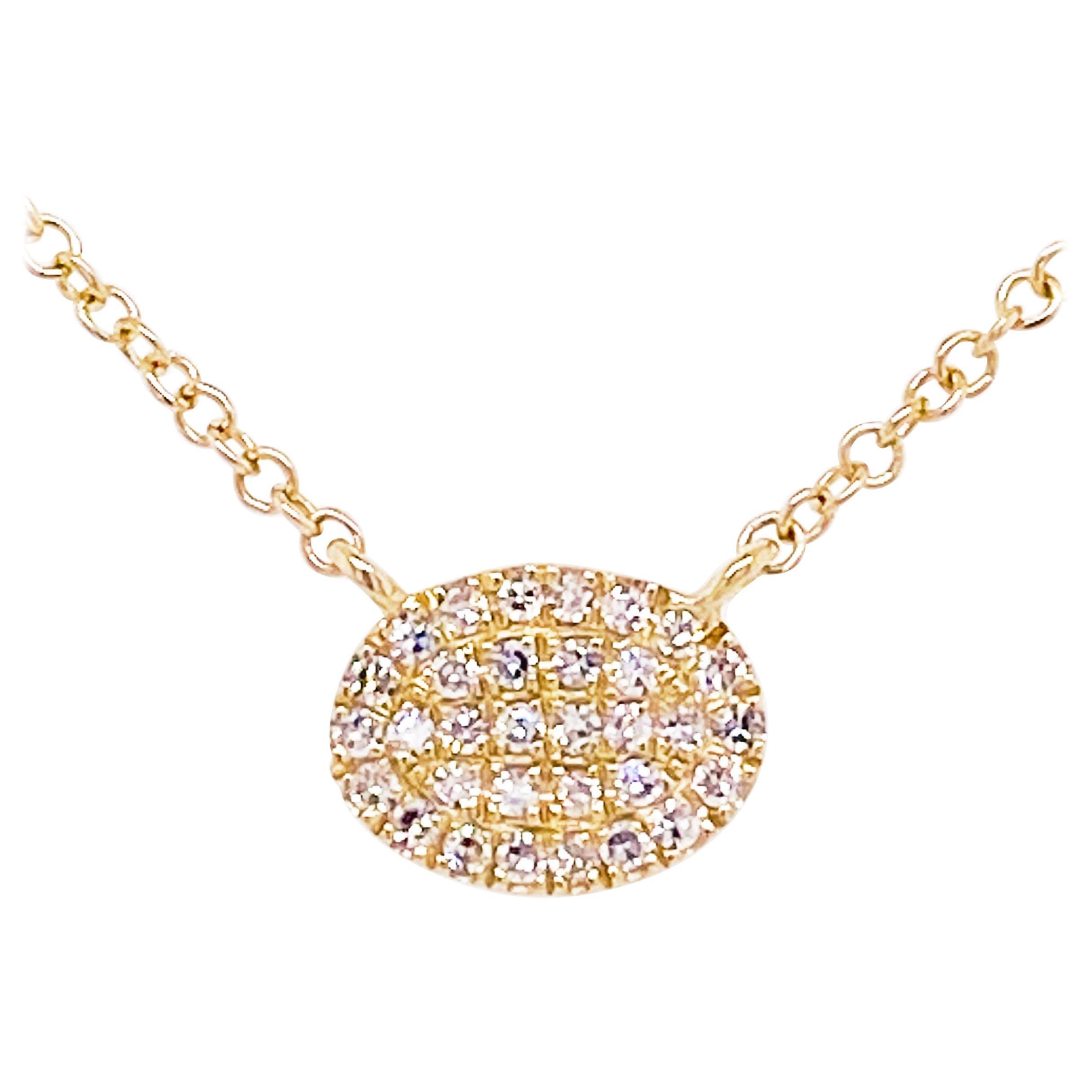 Pave Diamond Disk Necklace, 14 Karat Yellow Gold, Oval Diamond Disk Pendant Bolo
