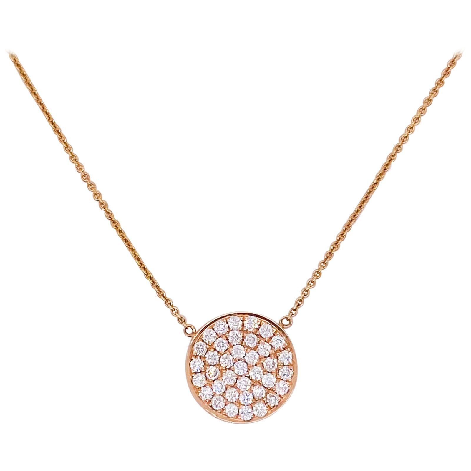 Pave Diamond Disk Rose Gold Necklace 14 Karat Gold 1/2 Carat Diamond Pendant