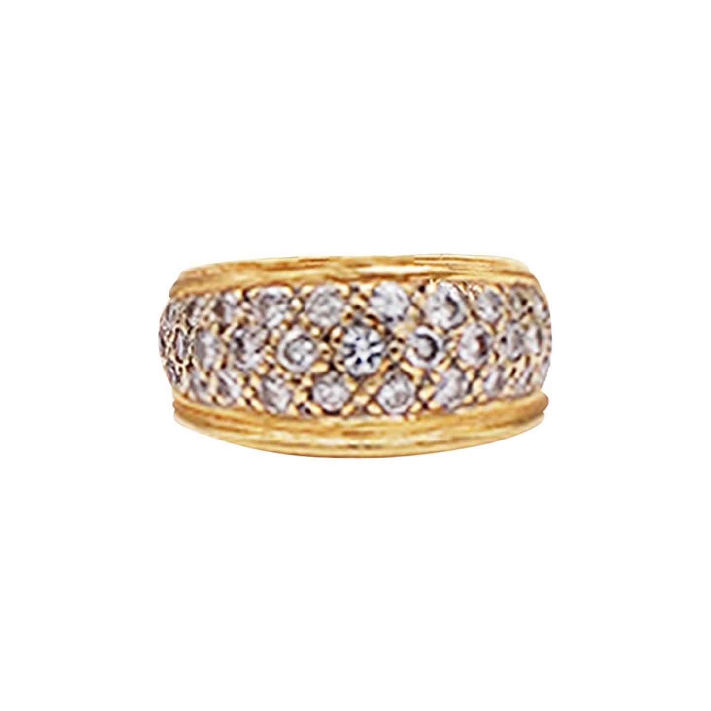 Pave Diamond Dome Band Ring 1 Carat VS Quality Diamonds Yellow Gold