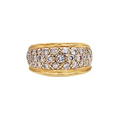Pave Diamond Dome Band Ring 1 Carat VS Quality Diamonds Yellow Gold