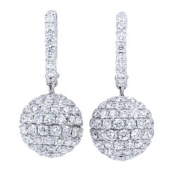 Pave Diamond Drop Ball Disco Earrings 6.31 Carat in 18 Karat White Gold
