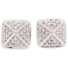 Pave Diamond Earring Studs with 3-D Square Pyramid Design in 14 Karat White Gold