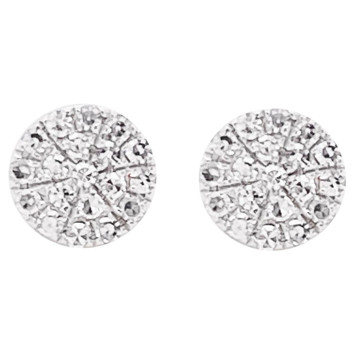 Pave Diamond Earrings, 14 Karat White Gold Round Pave Studs, Diamond Studs
