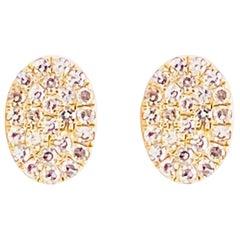 Pave Diamond Earrings, Yellow Gold Oval Pave Studs, Diamond Studs