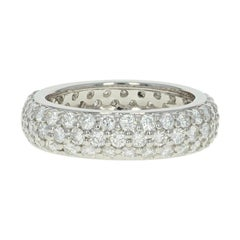 Pave Diamond Eternity Band, Platinum Anniversary Ring Round Cut 2.51 Carat