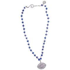 Pave Diamond Evil Eye of Lapis 14K Gold Necklace