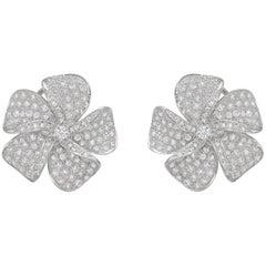 Pavé Diamond Flower Earclips