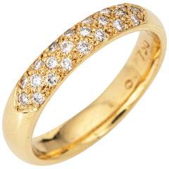 Pavé Diamond Half Hoop Band Vintage 18 Karat Gold Ring Estate Fine Jewelry