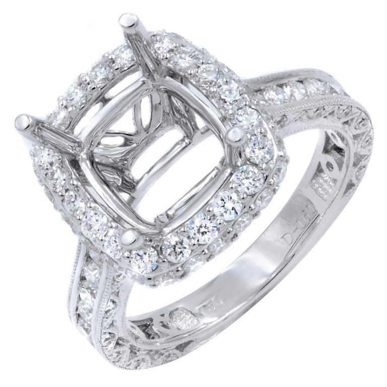 Pave Diamond Halo Setting For Cushion Cut Stone 1 61 Carat