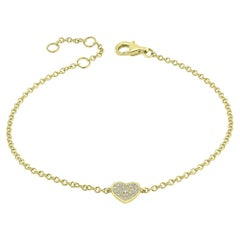 Pave Diamond Heart Chain Bracelet in 18 Karat Yellow Gold