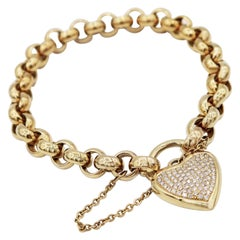 Pavé Diamond Heart Padlock Chain Yellow Gold Bracelet