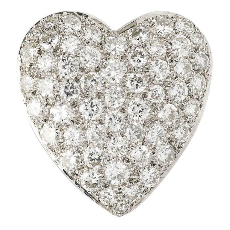 Pave Diamond Heart Pendant For Sale