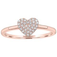 Pave Diamond Heart Ring in 18 Karat Rose Gold