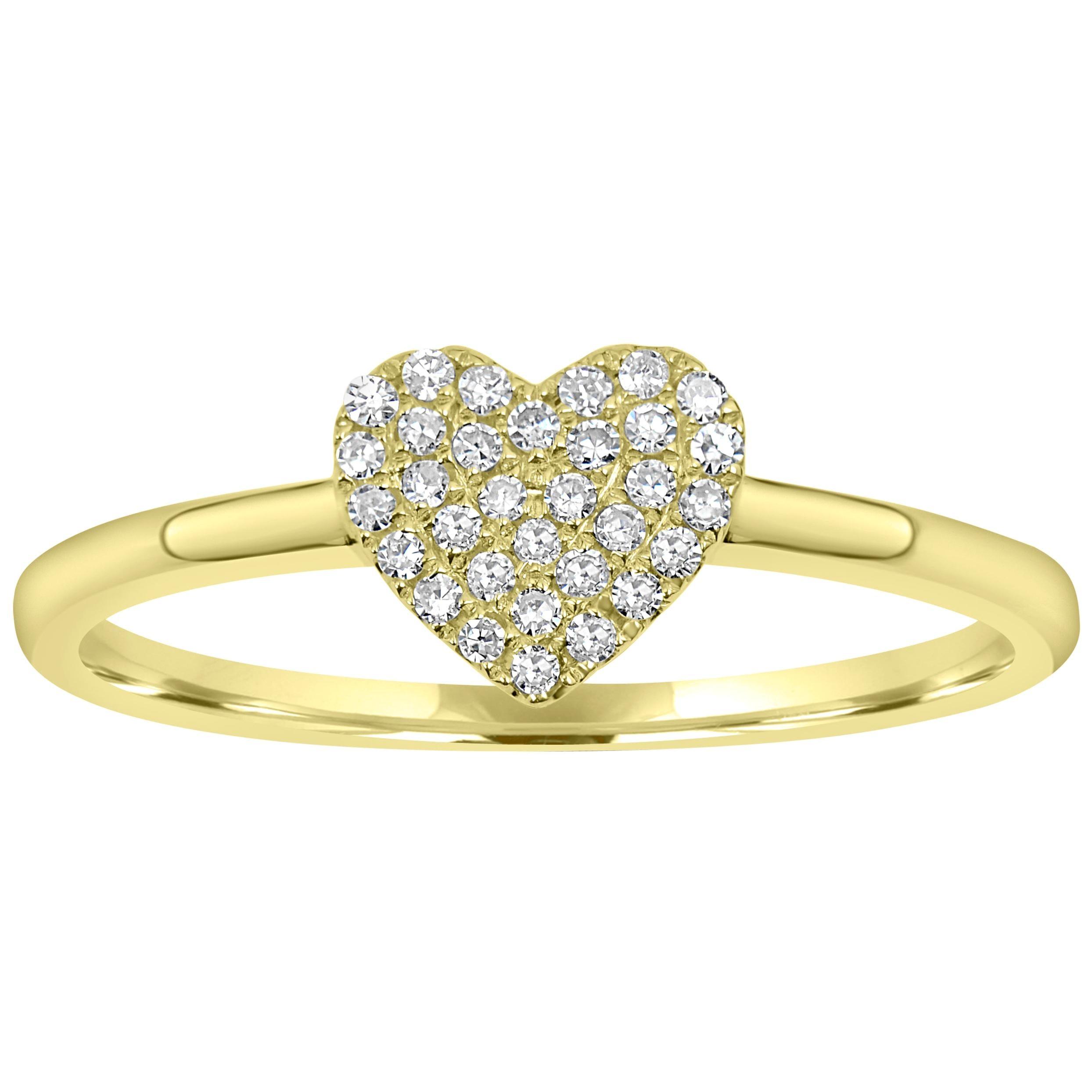 Pave Diamond Heart Ring in 18 Karat Yellow Gold
