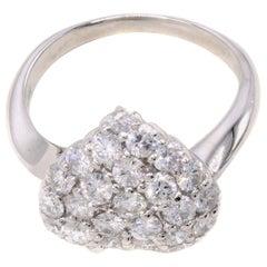 Pave Diamond Heart Shape Platinum Ring