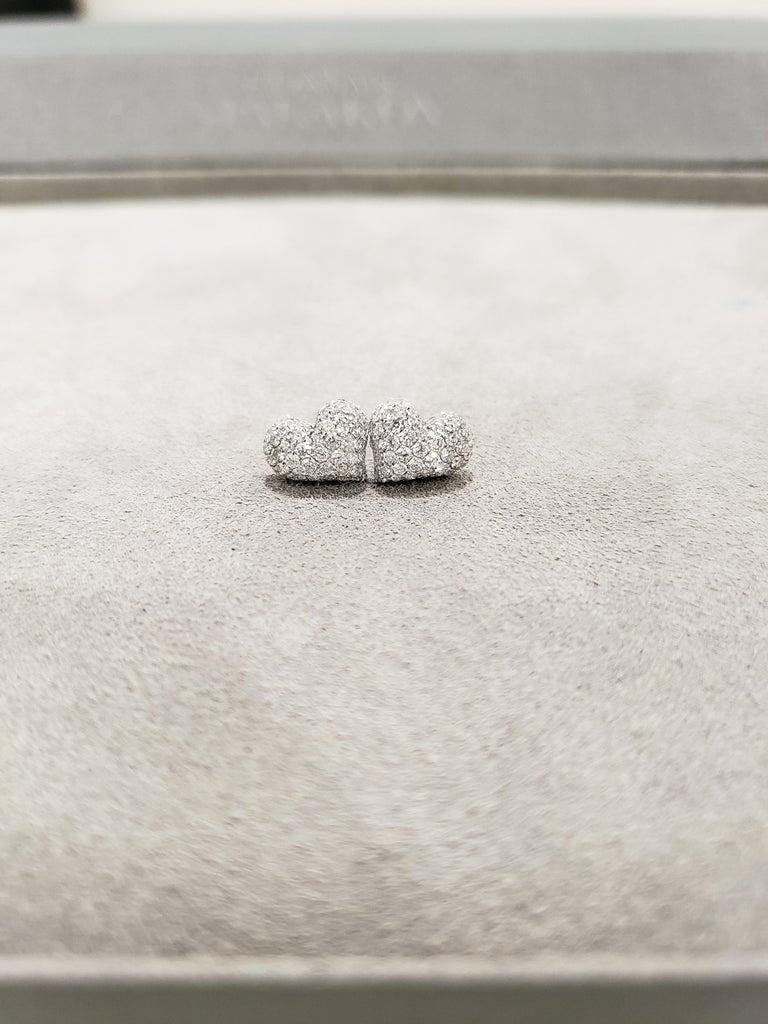 Round Cut Pavé Diamond Heart Shape Stud Earrings For Sale