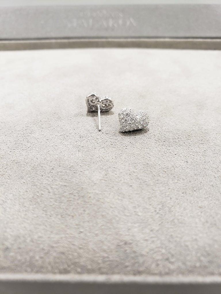 Women's Pavé Diamond Heart Shape Stud Earrings For Sale