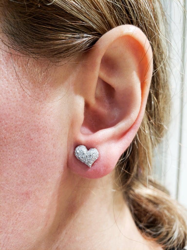 Pavé Diamond Heart Shape Stud Earrings For Sale 2