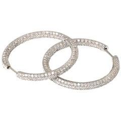 Pave Diamond Hoop Earrings set in 18k Gold, circa 1990