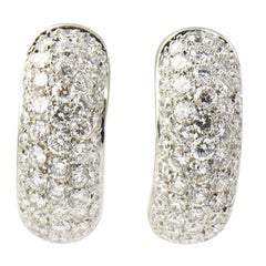 Pavé Diamond Huggie Hoop White Gold Earrings