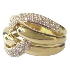 ".63 Carat Pave Diamond ""Knot"" Ring 18k Yellow Gold"