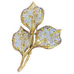 Pave Diamond Leaf Brooch