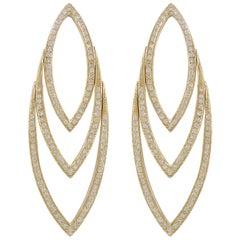 Hammerman Brothers Pave Diamond Leaf Earrings