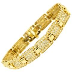 Pave Diamond Link Gold Bracelet