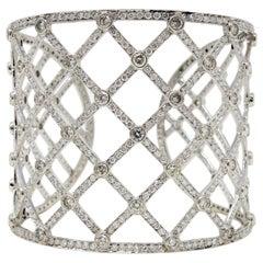 Pave Diamond Open Lattice Wide Cuff Bracelet 13.32 Carat 14 Karat White Gold