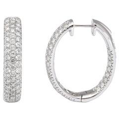 Pave Diamond Oval Hoop Earrings