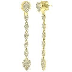 Pavé Diamond Pear Drop Earring in 14 Karat Yellow Gold
