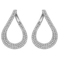 Pavé Diamond Pear-Shaped Hoop Earrings