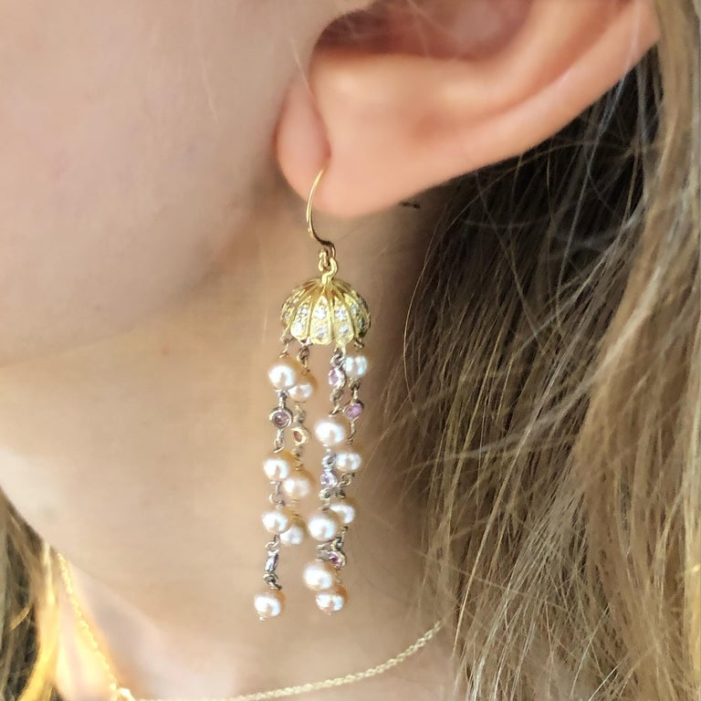Round Cut Pave Diamond Petal Cap Hoop Earrings with Freshwater Pearl Dangle Drops For Sale